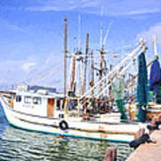 Palacios Texas Shrimp Boat Lineup Poster