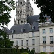 Palais In Tours With Cathedral Steeple Poster