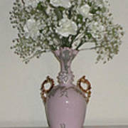 Pale Vase White Flowers Poster