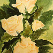 Pale Yellow Roses Poster