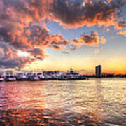 Palm Beach Harbor With West Palm Beach Skyline Poster by Debra and Dave Vanderlaan
