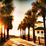 Palm Tree Sunrise Poster