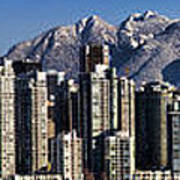 Pano Vancouver Snowy Skyline Poster