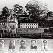 Panorama Alcatraz Infamous Inmates Black And White Poster