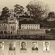 Panorama Alcatraz Infamous Inmates Sepia Poster