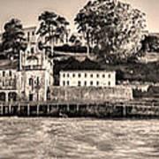Panorama Alcatraz Shaky Sepia Poster
