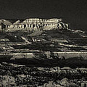 Panorama Bryce Canyon Storm In Black And White Poster