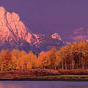 Panorama Dawn Lights Up Mount Moran In Grand Tetons National Park Poster
