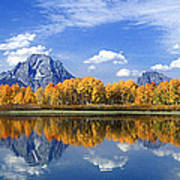 Panorama Fall Morning At Oxbow Bend Grand Tetons National Park Poster