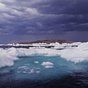 Panorama Ice Floes In A Stormy Sea Wager Bay Canada Poster