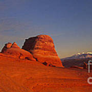 Panorama Moonrise Over Delicate Arch Arches National Park Utah Poster