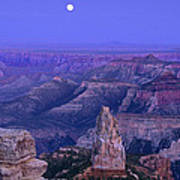 Panorama Moonrise Over Point Imperial Grand Canyon National Park Poster