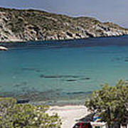 Panorama Of Mandrakia Fishing Village Milos Greece Poster