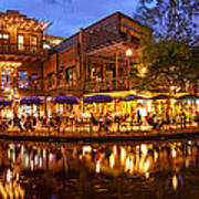 Panorama Of San Antonio Riverwalk At Dusk - Texas Poster