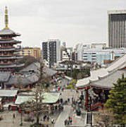 Panorama Of The Senso Ji Temple In Tokyo Poster