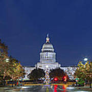 Panorama Of The Texas State Capitol At Christmas Poster
