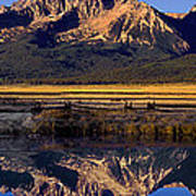 Panorama Reflections Sawtooth Mountains Nra Idaho Poster