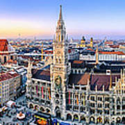 Panorama View Of Munich City Center Poster