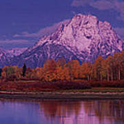 Panoramic Fall Morning Oxbow Bend Grand Tetons National Park Wyoming Poster