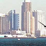 Panoramic Image Of San Diego From The Harbor Poster