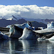 Panoramic View Of Icebergs And Glaciers Poster