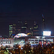 Panoramic View Of Kiev Railroad Station And Europe Square At Night Poster