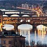 Panoramic View Of Ponte Vecchio - Florence - Tuscany Poster