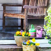 Pansies And Watering Cans On Steps Poster