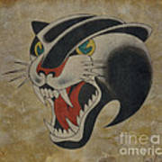 Traditional Tattoo Panther  Poster