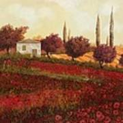 Papaveri In Toscana Poster by Guido Borelli