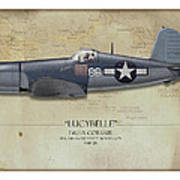 Pappy Boyington F4u Corsair - Map Background Poster