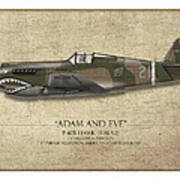 Pappy Boyington P-40 Warhawk - Map Background Poster