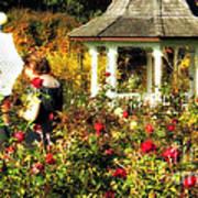 Parasol In Rose Garden Poster