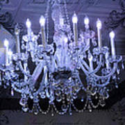 Paris Blue Crystal Chandelier Sparkling Chandelier Art - Paris Blue Shimmering Chandelier Art Deco  Poster by Kathy Fornal