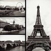 Paris Collage - Black And White Poster
