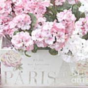 Paris Pink Flowers, Parisian Shabby Chic Paris Flower Box - Paris Floral Decor Poster