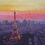 Paris Eiffel Tower At Dusk Poster