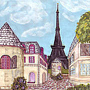 Paris Eiffel Tower Inspired Impressionist Landscape Poster