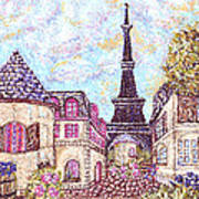 Paris Eiffel Tower Skyline Inspired Pointillist Landscape Poster