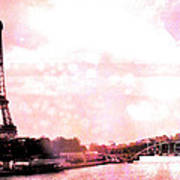 Paris Eiffel Tower Pink - Dreamy Pink Eiffel Tower With Hot Air Balloon Poster