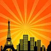 Paris France Downtown City Skyline Poster