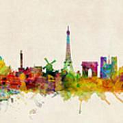 Paris France Skyline Panoramic Poster