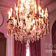 Paris Hotel Regina Pink Mauve Crystal Chandelier Hotel Entrance Lobby Chandelier Art Deco Poster