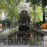 Paris Jardin Du Luxembourg Gardens Autumn Fall  - Medici Fountain Sculpture Autumn Fall Photographs Poster