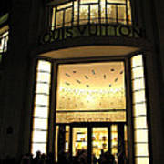Paris Louis Vuitton Boutique Store Front - Paris Night Photo Louis Vuitton - Champs Elysees  Poster