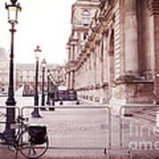 Paris Louvre Museum Street Lamps Bicycle Street Photo - Paris Romantic Louvre Architecture  Poster