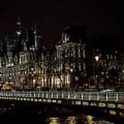 Paris Night Along The Seine Poster