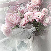 Paris Pink Impressionistic French Roses And Ranunculus - Shabby Chic Romantic Pink Flowers Poster