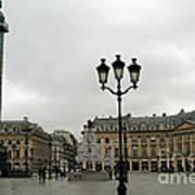 Paris Place Vendome Architecture Monuments Street Lamps And Buildings  Poster