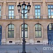 Paris Place Vendome Street Architecture Blue Doors And Street Lamps  Poster